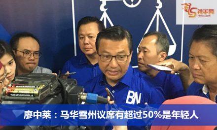 廖中莱:马华雪州议席有超过50%是年轻人