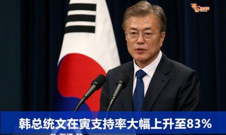 韩总统文在寅支持率大幅上升至83%