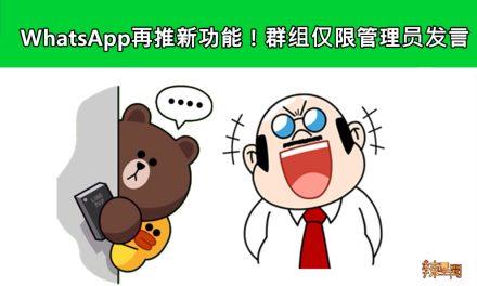 WhatsApp再推新功能!群组仅限管理员发言