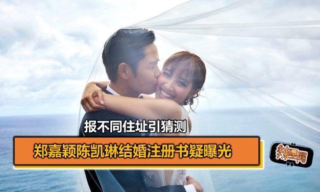 郑嘉颖陈凯琳结婚注册书疑曝光 报不同住址引猜测