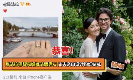 陈法拉巴黎完婚嫁法籍男友 丈夫亲自设计粉红钻戒